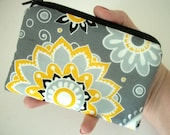 Yellow Dazzle Blooms Little Zipper pouch Coin purse Gadget Case ECO Friendly Padded