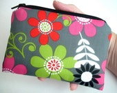 SALE Padded Little Zipper pouch Coin Purse Gadget Case ECO Friendly Gray Retro Flowers
