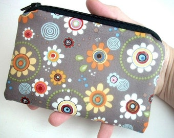 Flower Zipper Pouch Coin Purse Eco Friendly Little Gadget Case Padded  Groove Flowers