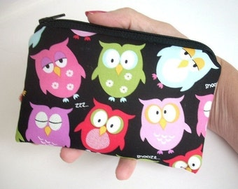 Zipper Coin Purse  Gadget Case Zippered Pouch ECO Friendly Padded - Z Owl