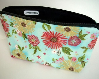 Large Cosmetic Bag Flat bottom Zipper Pouch ECO Friendly Padded - Formosa Blue