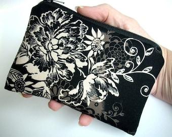 Zephyr in Black Little Zipper Pouch Coin Purse Gadget case ECO Friendly Padded