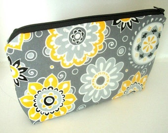 Cosmetic Bag Large ECO Friendly Padded Flat Bottom Zipper Pouch Yellow Dazzle Blooms