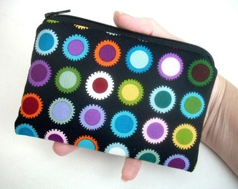 Zipper Pouch Eco Friendly Little Coin Purse Padded Bold Dots