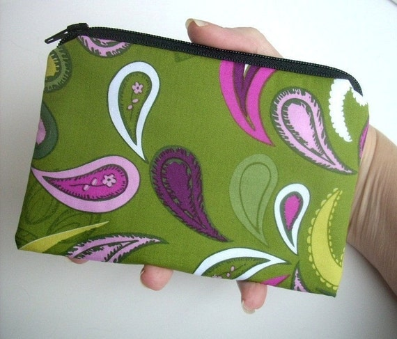 SALE Lime Paisley  Zipper Pouch ECO Friendly Padded Coin Purse