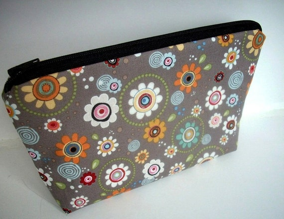 Flower Cosmetic Bag Large ECO Friendly Padded Flat bottom zipper pouch - Retro Groove Flower