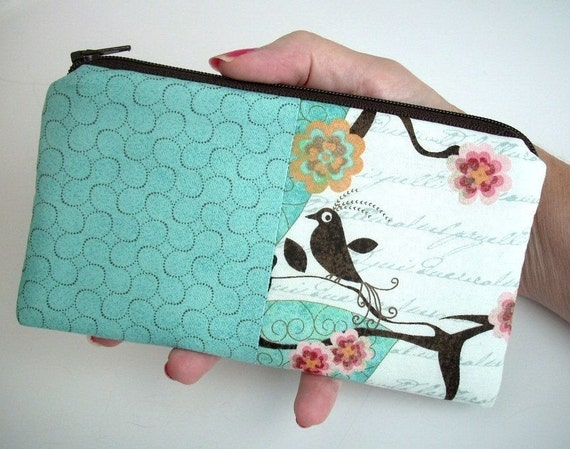 RESERVED for LEAH --- Large Coin purse zipper pouch cell phone case (Padded) ECO Friendly Double Blush Bird Aqua