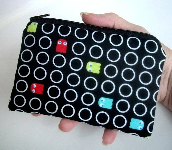 CLEARANCE Padded Zipper Pouch ECO Friendly Coin Purse Gadget  Ipod Cell phone Case - Cute Pac Man