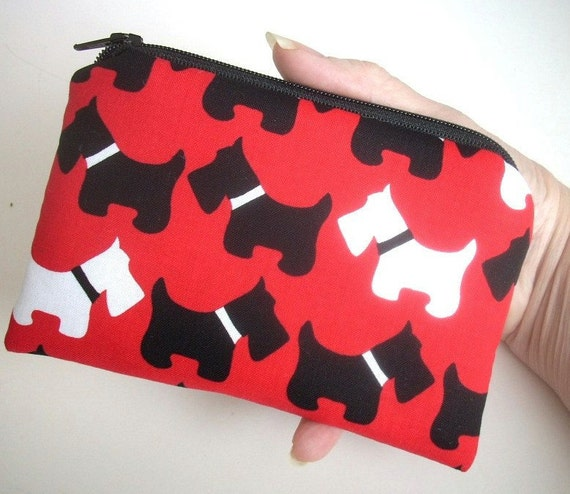 SALE Red Coin Purse Scottie Dog Little Zipper pouch Ipod Gadget Case ECO Friendly Padded