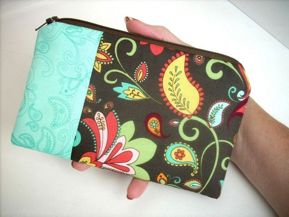 Retro Zipper Pouch Coin Purse Gadget Case ECO- Friendly OOAK Double Retro Bird in Brown (Padded)