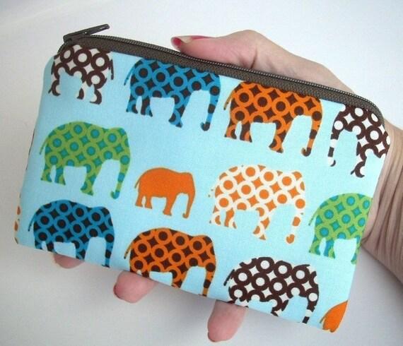 Urban Elephant Zipper pouch Little coin purse Gadget Case ECO Friendly Padded