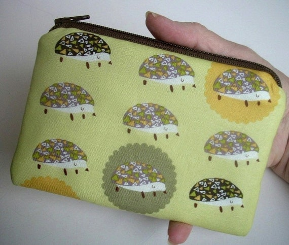 SALE Hedgie Zipper Pouch ECO-FRIENDLY Little Zippered Bag coin purse Gadget Case -  Hedgie Hog on Yellow
