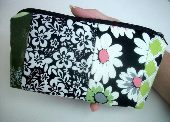 End of  Year SALE 50% OFF  Zipper Pouch Flat bottom Cosmetic Bag (Padded) Black Blends