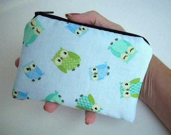 SALE Owls Little Zipper Pouch Coin Purse Gadget Case (Padded) - ECO Friendly Baby Blue Owls