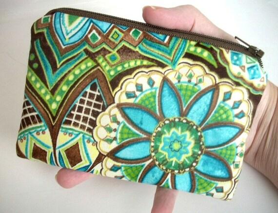 Blue Mosaic Little Zipper pouch Coin purse Gadget case ECO FRIENDLY (Padded)