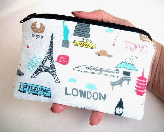 Travel Time Little Zipper pouch coin purse Gadget Case NEW  ECO Friendly Travel Time (Padded)