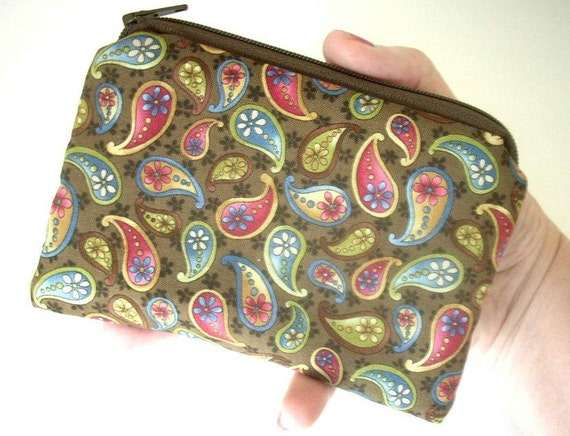 SALE Dream Paisley Eco Friendly Little Zipper pouch Coin purse Gadget Case (Padded)