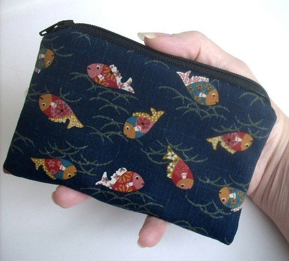 Fish on Indigo Japanese Import Little Zipper Pouch Coin Purse ECO Friendly Padded LIMITED