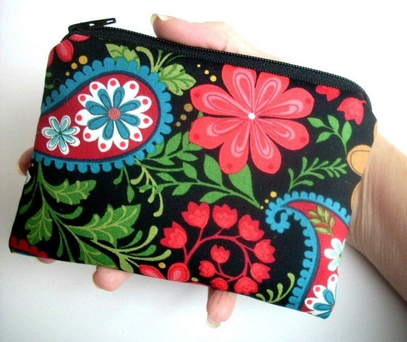 CLEARANCE Paisley Coin Purse Little Zipper pouch Gadget Case (Padded) - Paisley Serfina in Black