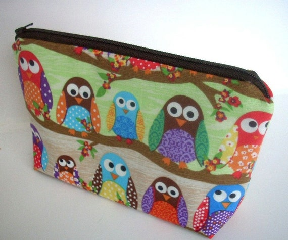 Owls in Line Large Flat bottom zipper pouch Gadget Case Cosmetic Bag ECO Friendly Padded