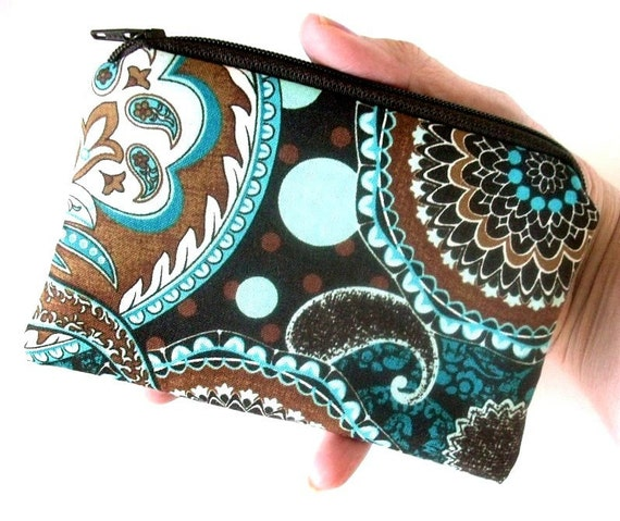 Little Zipper pouch Padded Coin Purse Gadget Case - NEW French Blues