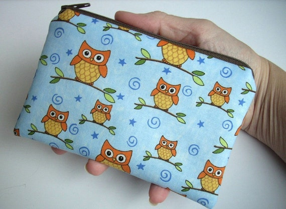Owl Little Zipper Pouch Coin Purse ECO Friendly Padded Gadget case  - Orange Owls on branches in Blue
