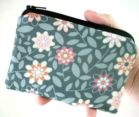 SALE Padded Coin Purse  Eco Friendly Shadow Play Little Zipper pouch cell phone Gadget Case