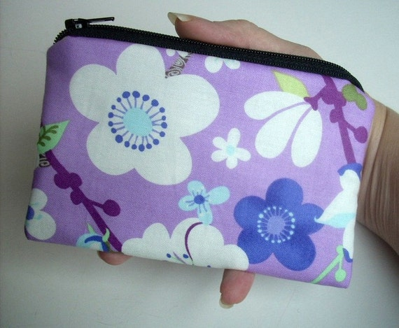 SALE Lavender Little Zipper pouch Coin Purse Gadget Case Eco - Friendly  (Padded) Harmony Sakura