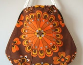 Orange firecracker vintage fabric mojo tote HALF PRICE SALE