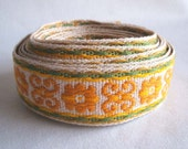 "vintage fabric scroll trim in mustard yellow and sage green 1 3/8"" wide 4 yards sale"