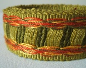 vintage woven fabric trim in sage and scarlet 33mm wide 2 yards sale