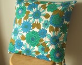 vintage fabric cushion cover in turquoise and cobalt blue