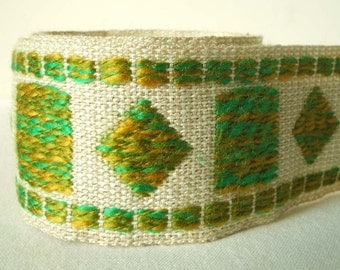 "vintage woven trim in oatmeal and apple green 2.5"" wide as seen in House and Garden Magazine"