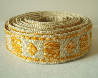 "vintage woven fabric trim in oatmeal and mustard yellow 2.5"" wide sale"