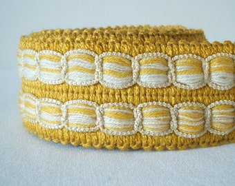 vintage woven trim in golden yellow and oatmeal