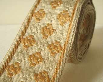 "vintage geometric woven fabric trim ribbon in caramel and oatmeal 2"" wide 1 yard sale"
