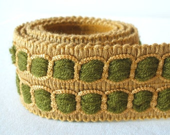 vintage woven trim in khaki and olive green 1 yard