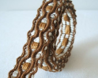 vintage macrame style trim in mocha and toffee brown 2 yards