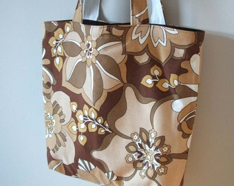 chocolate and coffee retro flowers tote HALF PRICE
