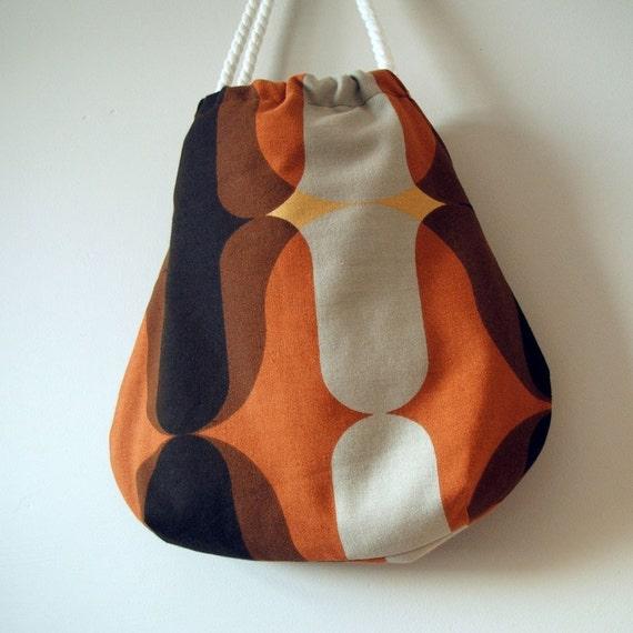 Vintage burnt orange and brown mojo tote HALF PRICE SALE