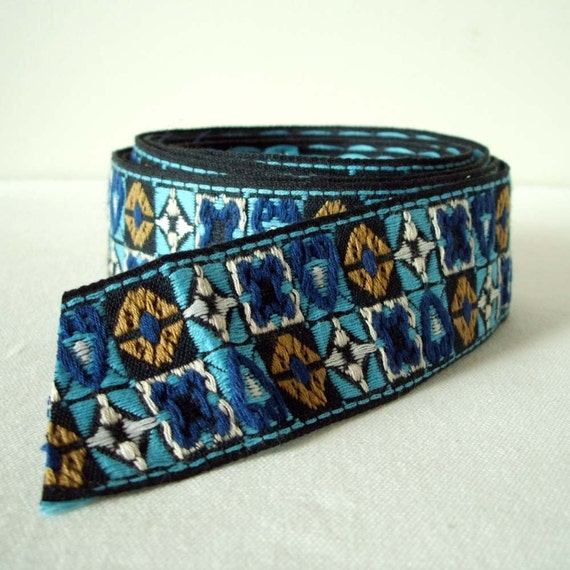 "vintage cubes trim in cobalt, sky blue and jet black 1 3/8"" wide 1 yard"