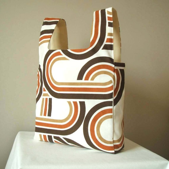 Reversible market day tote in chocolate and toffee brown HALF PRICE