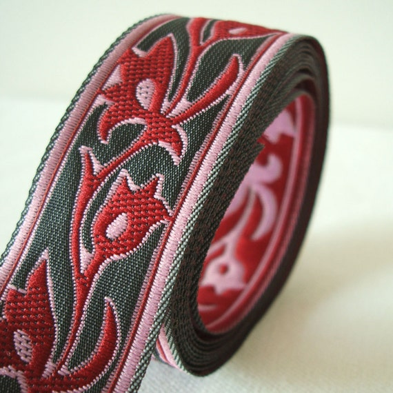 "art nouveau jacquard ribbon in burgundy and slate gray 1"" wide 2 yards"