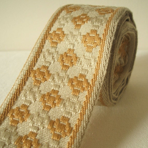 """vintage geometric woven fabric trim ribbon in caramel and oatmeal 2"""" wide 1 yard sale"""