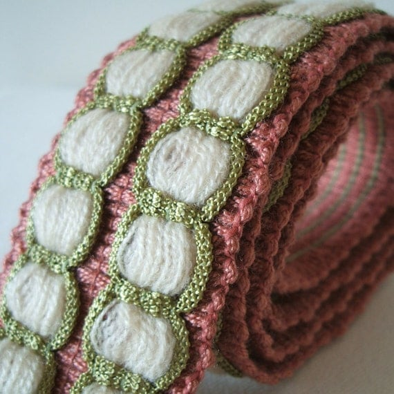 vintage woven trim in dusky pink, apple green and cream 1 yard
