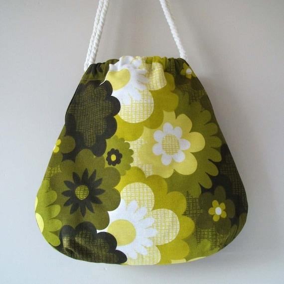 Lime zest vintage fabric mojo tote HALF PRICE SALE