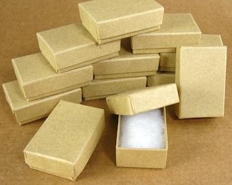 Mini Kraft Chipboard Jewelry  Gift Boxes - Set of 48 / 1-3/4 x 1-1/8 x 5/8 Inch