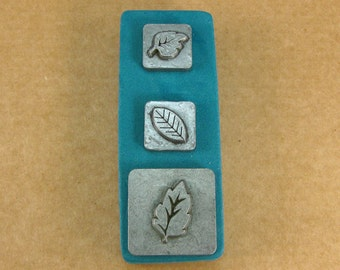 """1/2"""" Leaves1 Ornamental Stamps by Melody Ross / Set of 3 / Use On Chipboard And Leather"""