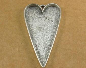 Large Heart Bezel Frame Tray Antique Silver Finish for Pendants