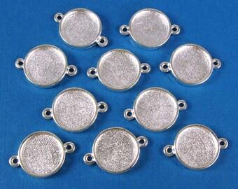 Mini Circle Double Loop Bezel Frame Trays - Set of Ten -  Shiny Sterling Silver Finish